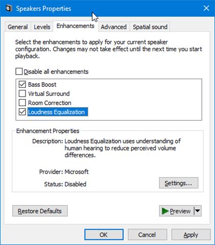 turn on or off audio enhancements in windows 10 pic3
