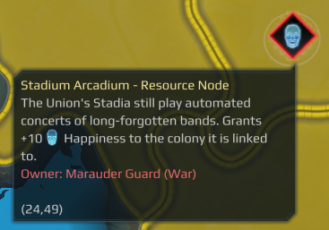 A guarded Resource Node that provides Happiness to the Colony. This node is not providing any resources even though it is annexed because it is still actively being guarded